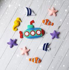 Set of felt toys Under the sea toy nautical nursery sea ornaments ocean decor Submarine toy felt starfish seahorse felt Nursery Decor Boy, Nautical Nursery, Childrens Room Decor, Nursery Design, Decor Planet, Zoo Toys, Spider Light, Mobiles For Kids, Orange Fish