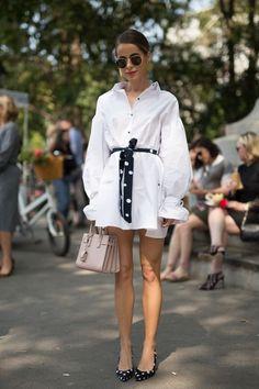 Белые платья-рубашки. Идеи образов. 4