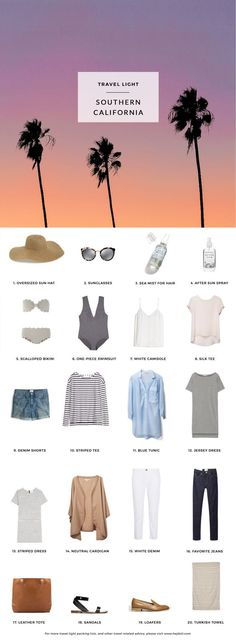 What to pack for Southern California. 20 items, 10+ days/outfits, 1 carry on suitcase. #travellight #packingtips #traveltips
