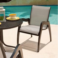 Telescope Casual Dune Stacking Patio Dining Chair (Set of 2) Finish: Textured Desert, Fabric: Beacon