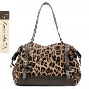 Kaman Ladies' Leopard Pattern Cow Leather Shoulder Bag