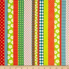 Playful Stripes Green/Orange from @fabricdotcom  Designed by Abi Hall for Moda