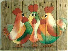 Kippen schilderij op steigerhout