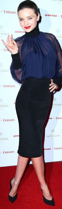 Who made  Miranda Kerrs blue mesh long sleeve top and black with gold strap pumps that she wore in Sydney?