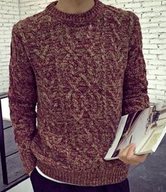Casual Round Neck Rhombus Geometric Jacquard Mixed Color Long Sleeves Sweater For Men