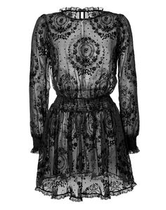 Ornate velvet patterning lends an opulent look to this sheer silk dress from RED Valentino #Stylebop