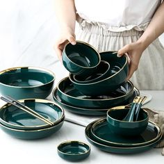 The Brunswick Dinnerware Set comes in a beautiful deep green with gold inlay for added elegance. An exquisite dinnerware for your special occasions. Made of high quality. a food-grade ceramic that's durable and easy to clean. Details Quality hand-painted ceramic Scratch-resistant Chip-resistant durability Non-Slip Bottom Not Microwave or dishwasher safe Dimensions Spoon: 6 x 2 in Sauce Dish: 4 x 1 in Cereal Bowl: 5 x 2 in SuperBowl: 7 x 3 in Small Deep Plate: 7 x 2 in Large Deep Plate: 9 x 2 in Green Dinnerware, Porcelain Dinnerware, Ceramic Tableware, Kitchenware, Crockery Set, Stoneware Dinnerware Sets, Vintage Dinnerware, Ceramic Decor, Porcelain Ceramics