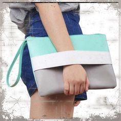 "HPColor Block Vegan Oversized Clutch/Purse Mint Green/Gray/White Color combo, for that perfect pop of color. Oversized with wrist strap, fits everything you can think of. Measures 8""x12"". Other colors available. Thanks for looking!!! Bags Clutches & Wristlets"