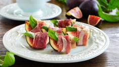 Photo about Appetizer of figs and prosciutto. Image of balsamic, snack, fruit - 44690635 Prosciutto, Tuna, Appetizers, Fish, Snacks, Fruit, Recipes, Drizzle Cake, Fig Recipes