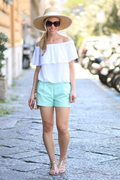 Hot, Hot, Hot: white off the shoulder top, mint shorts, J. Crew wide-brimmed straw hat, straw hat with off the shoulder top, gold gladiator sandals, mint shorts outfit