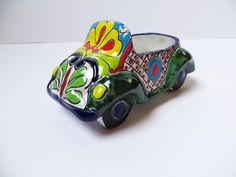 Talavera ceramics car by La Tienda Store Pots, Mexican Home Decor, Light And Shadow, Planters, Pottery, Ceramics, 3d, Store, Accessories