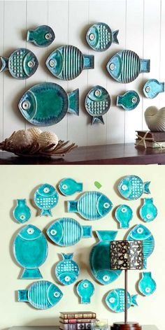 Two ways of arranging the same fish-shaped plates.