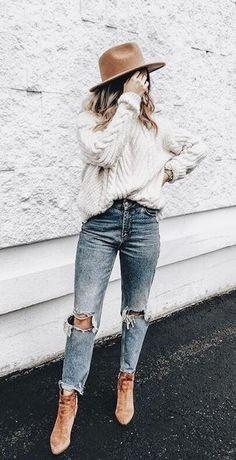 cable knit. vintage denim. street style.