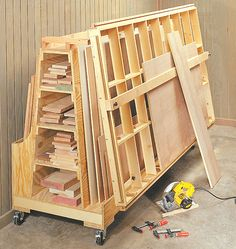 Roll-Around Lumber Cart & Cutting Station
