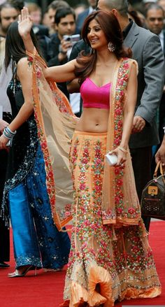 Shilpa Shetty in a peach and pink lengha