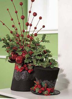 Frosty's top hat floral arrangement