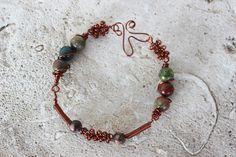 Wrapped Jasper Bracelet by Paoniasage on Etsy