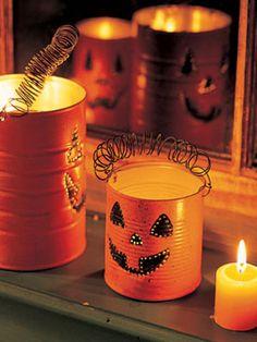 Tin can pumpkin lanterns-  I especially love this Autumn craft idea!