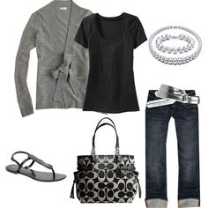 Cute and casual, although I would do a colored tee to add a punch of color :) love the look
