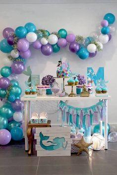 Baby girl birthday party themes decorations 53 New ideas Mermaid Theme Birthday, Little Mermaid Birthday, Little Mermaid Parties, Girl Birthday, Mermaid Party Decorations, Birthday Party Decorations, Birthday Banners, Birthday Invitations, 4th Birthday Parties