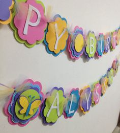 Girl Happy Birthday Banner Flower Diecut Party by Wildflowercraft