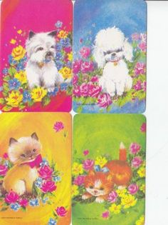 *Vintage 70's Swap/Playing Cards - Set of 4 - colourful cats and dogs & flowers