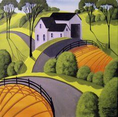 Debbie Criswell ORIGINAL painting folk art landscape country modern farm hills | Art, Paintings | eBay!