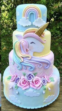 Cupcakes birthday cake kids new Ideas Cupcake Birthday Cake, Birthday Cake Girls, Unicorn Birthday Parties, Birthday Kids, Unicorn Party, Birthday Cake Designs, Barbie Birthday Cake, Fondant Cupcakes, Cupcake Cakes
