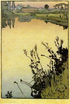 """My favorite print on here, maybe...sunrise colors Frank Morley Fletcher, """"Meadowsweet, 1897"""""""
