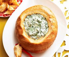 Cob loaf spinach dip recipe - By Australian Women's Weekly, This is one retro recipe that never goes out of style, a cob loaf filled with spinach dip is always a huge party hit.