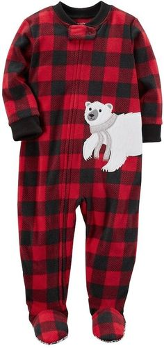 9ab384a8fa Carter s Toddler Boy Polar Bear Buffalo Plaid Fleece Footed Pajamas Plaid  Pajamas