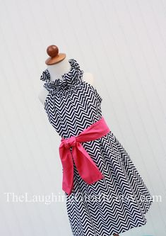 Too cute for little girls: Pink Licorice...Chevron Ruffler Dress with Monogram...Size 3, 6, 9, 12 months, 1, 2, 3, 4, 5, 6, 7/8, 9/10, 11/12. $49.00, via Etsy.