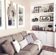 Replace family photos with mirrors and simplistic art and decor. Mirrors enlarge a room and decor allows the buyer to personalize their own space. Home Staging Tips and Ideas Improve the Value of Your Home on Frugal Coupon Living. - April 27 2019 at Living Room Mirrors, Cozy Living Rooms, New Living Room, My New Room, Apartment Living, Apartment Ideas, Cozy Apartment, Wall Mirrors, Living Room Wall Decor Ideas Above Couch