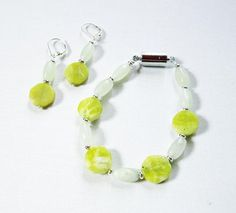 Chartreuse stone, quartz and aventurine, natural stone green earrings bracelet set, two tone hexagon gemstone for luck, magnetic clasp Green Earrings, Stone Earrings, Natural Jewelry, Unique Jewelry, Hexagon Shape, Green Aventurine, Quartz Stone, Bracelet Set, Natural Stones