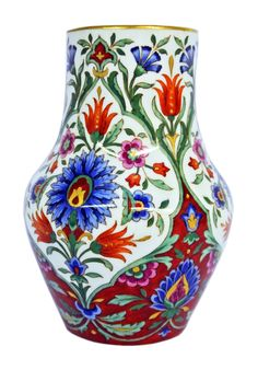 A very rare Meissen squat vase decorated in a Turkish Iznik style pattern, circa Offered by Serhat Ahmet. Chelsea Flower Show, Squat, Pattern Fashion, Great Gifts, Vase, Antiques, Blog, Decor, Style