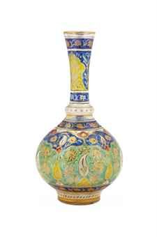 A GILT AND ENAMELLED CUT-GLASS BOTTLE  MUGHAL INDIA, FIRST HALF 19TH CENTURY
