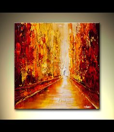 Original abstract art paintings by Osnat - red cityscape view of street
