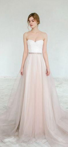Blush pink tulle wedding dresses