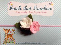Felt baby headband pink Baby Girl Headband by catchthatrainbow