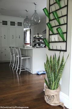Eclectic kitchen - love the bottle drying rack eclecticallyvintage.com