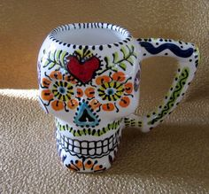 Sugar Skull Monster Mug for Day of the Dead Halloween by PattyMara, $45.00
