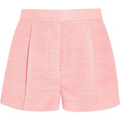 Stella McCartney Warwick slub canvas shorts ($255) ❤ liked on Polyvore featuring shorts, baby pink, high waisted pleated shorts, stella mccartney, highwaist shorts, high-waisted shorts and stella mccartney shorts