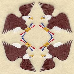Eagle and Arrow Quilt Block - 4 Block Sm design (B2998) from www.Emblibrary.com