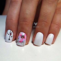 Accurate nails, Bright summer nails, flower nail art, Original nails, Party nails, Short nails with a picture, Spectacular nails, Square nails