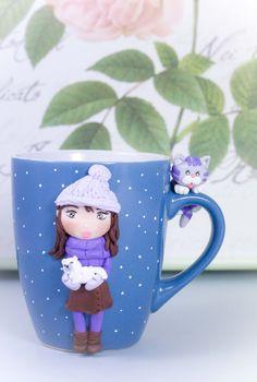 """Tazza Mug """"Winter"""" in ceramica con decorazioni realizzate a mano di telasimona su Etsy"""