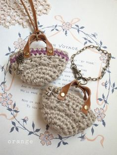 crochet mini marchebag  necklace and bagcharm