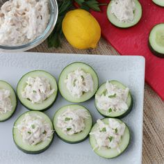 cucumber chicken salad bites---see attached chicken salad recipe with no mayonnaise