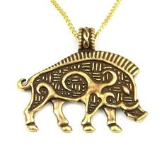 Celtic Wild Boar Razorback Talisman Bronze Pendant Necklace Made in USA - Be fearless with this Celtic boar necklace.  The boar was a symbol of courage in Celtic art and was used on helmets, shields, and armor.  What a great gift for the warrior in your life.  $24.99