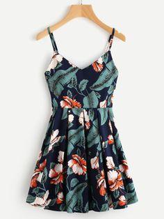 Vestido de tirante con estampado de flor y hoja al azar