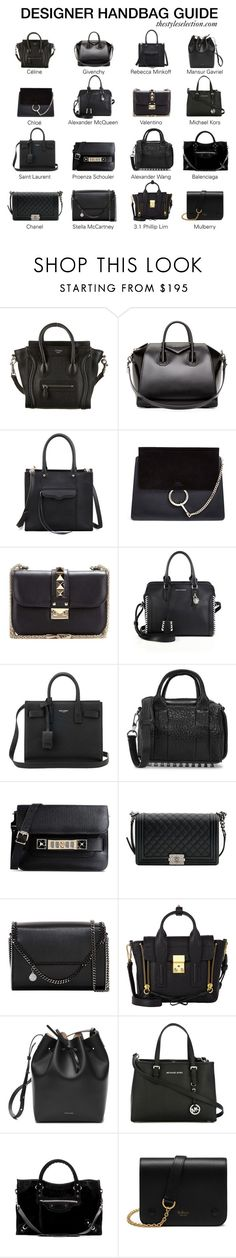 """""""Designer handbag guide"""" by ferned ❤ liked on Polyvore featuring CÉLINE, Givenchy, Rebecca Minkoff, Chloé, Valentino, Alexander McQueen, Yves Saint Laurent, Alexander Wang, Proenza Schouler and Chanel"""